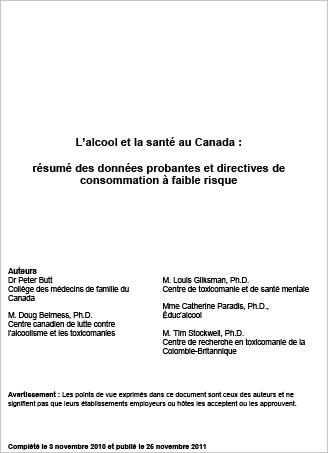 L'alcool et la santé au Canada : Résumé des données probantes et directives de consommation à faible risque