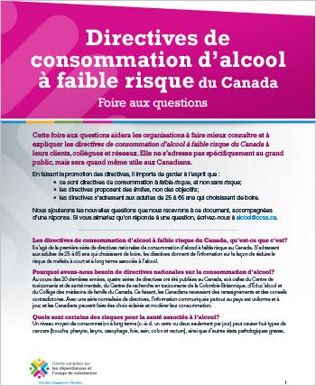 Directives de consommation d'alcool à faible risque du Canada: Foire aux questions