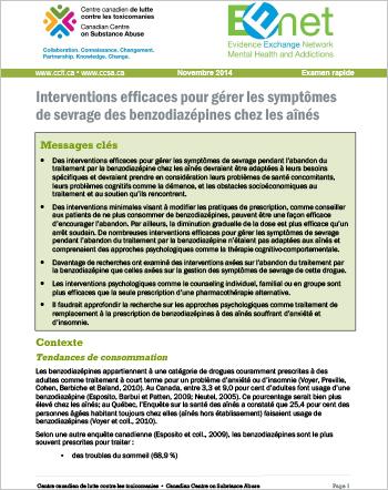 Interventions efficaces pour gérer les symptômes de sevrage des benzodiazépines chez les aînés (Examen rapide)