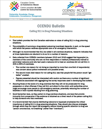 Calling 911 in Drug Poisoning Situations (CCENDU Bulletin)