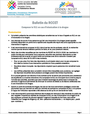 Composer le 911 en cas d'intoxication à la drogue (Bulletin du RCCET)
