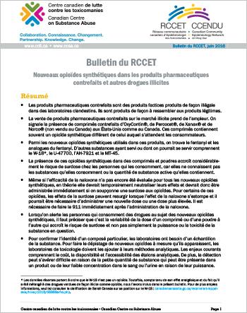 Nouveaux opioïdes synthétiques dans les produits pharmaceutiques contrefaits et autres drogues illicites (Bulletin du RCCET)