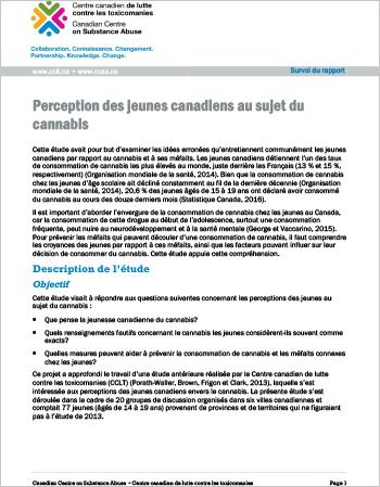 Les perceptions des jeunes canadiens sur le cannabis (Survol du rapport)