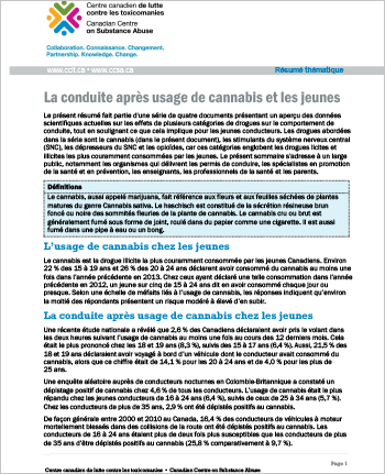 La conduite après usage de cannabis et les jeunes (Résumé thématique)
