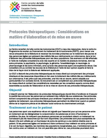 Protocoles thérapeutiques : Considérations en matière d'élaboration et de mise en œuvre