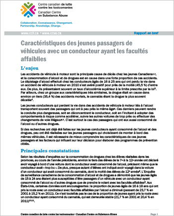 Caractéristiques des jeunes passagers de véhicules avec un conducteur ayant les facultés affaiblies (Rapport en bref)