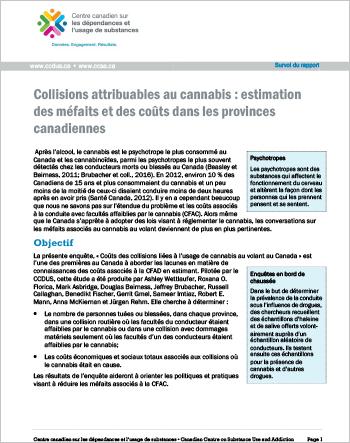 Collisions attribuables au cannabis : estimation des méfaits et des coûts dans les provinces canadiennes (Survol du rapport)