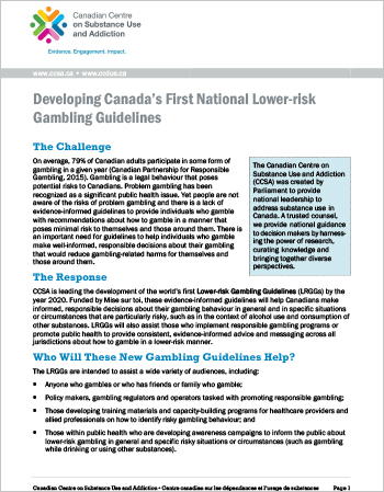 Developing Canada's First National Lower-risk Gambling Guidelines