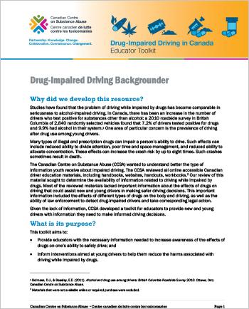 Drug-Impaired Driving Backgrounder