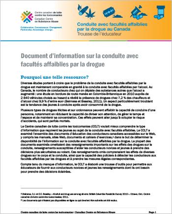 Document d'information sur la conduite avec facultés affaiblies par la drogue