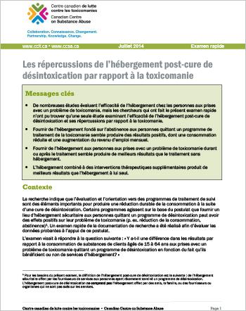 Les répercussions de l'hébergement post-cure de désintoxication par rapport à la toxicomanie