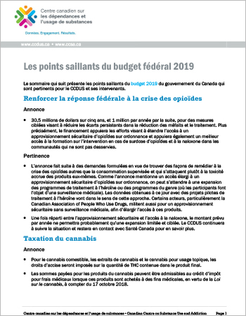 Les points saillants du budget fédéral 2019