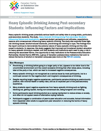 Heavy Episodic Drinking Among Post-secondary Students: Influencing Factors and Implications (Report at a Glance)