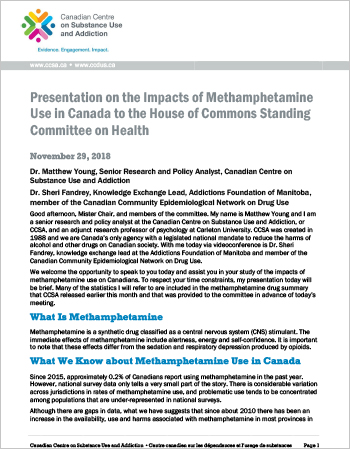 Presentation on the Impacts of Methamphetamine Use in Canada to the House of Commons Standing Committee on Health
