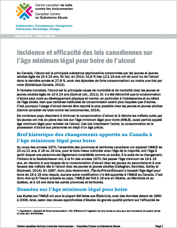 Incidence et efficacité des lois canadiennes sur l'âge minimum légal pour boire de l'alcool