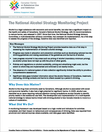 The National Alcohol Strategy Monitoring Project (Report at a Glance)
