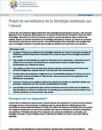 Projet de surveillance de la Stratégie nationale sur l'alcool (Survol du rapport)