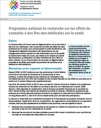 Programme national de recherche sur les effets du cannabis à des fins non médicales sur la santé (Rapport sommaire)