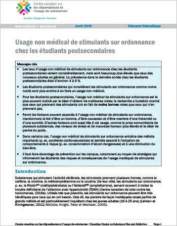 Usage non médical de stimulants sur ordonnance chez les étudiants postsecondaires (Résumé thématique)