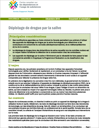 Dépistage de drogue par la salive (Document d'orientation)