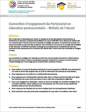 Convention d'engagement du Partenariat en éducation postsecondaire – Méfaits de l'alcool