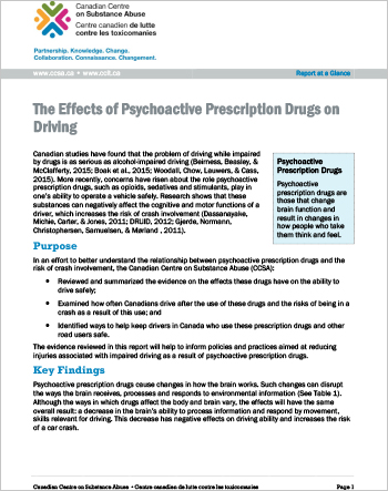 The Effects of Psychoactive Prescription Drugs on Driving (Report at a Glance)