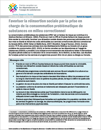 Favoriser la réinsertion sociale par la prise en charge de la consommation problématique de substances en milieu correctionnel