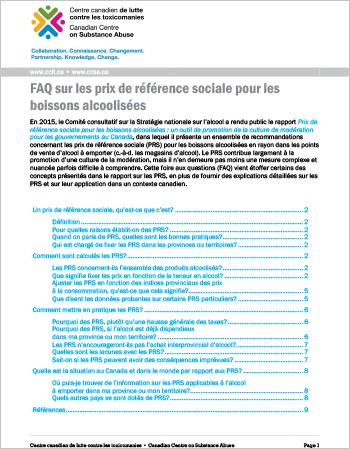 FAQ sur les prix de référence sociale pour les boissons alcoolisées