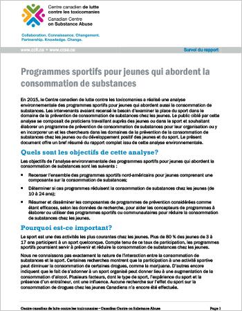 Programmes sportifs pour jeunes qui abordent la consommation de substances (Survol du rapport)
