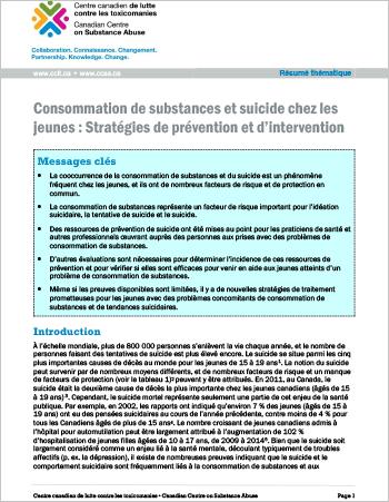Consommation de substances et suicide chez les jeunes : Stratégies de prévention et d'intervention (Résumé thématique)