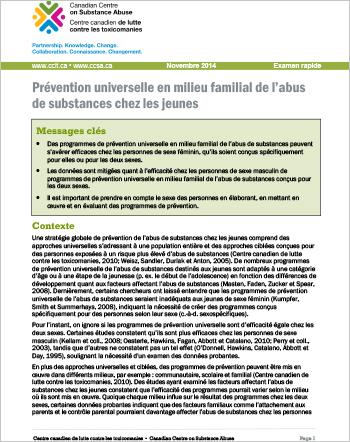 Prévention universelle en milieu familial de l'abus de substances chez les jeunes (Examen rapide)