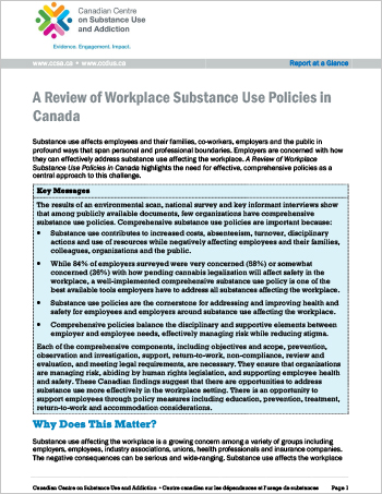 A Review of Workplace Substance Use Policies in Canada (Report at a Glance)