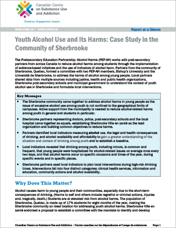 Youth Alcohol Use and Its Harms: Case Study in the Community of Sherbrooke (Report at a Glance)
