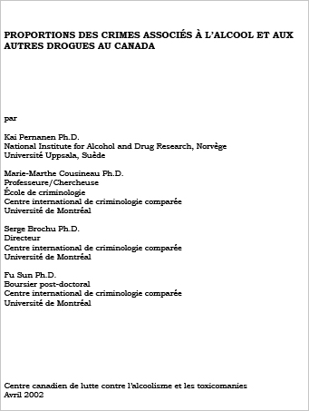 Proportions des crimes associés à l'alcool et aux autres drogues au Canada