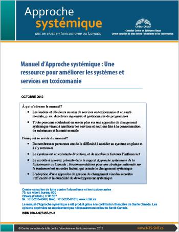 Manuel d'Approche systémique : Une ressource pour améliorer les systèmes et services en toxicomanie