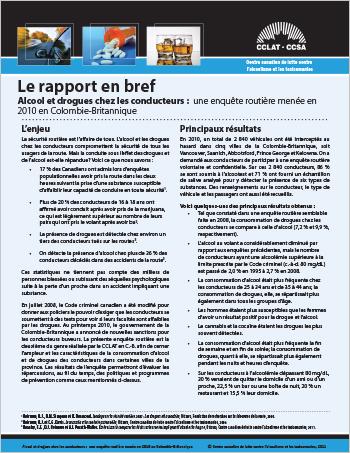 Alcool et drogues chez les conducteurs : Une enquête routière menée en 2010 en Colombie-Britannique (Le rapport en bref)