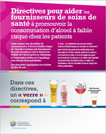 Directives pour aider les fournisseurs de soins de santé à promouvoir la consommation d'alcool à faible risque chez les patients