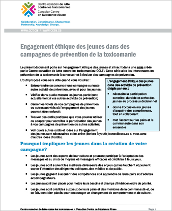Engagement éthique des jeunes dans des campagnes de prévention de la toxicomanie