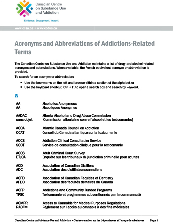 Acronyms and Abbreviations of Addictions-Related Terms
