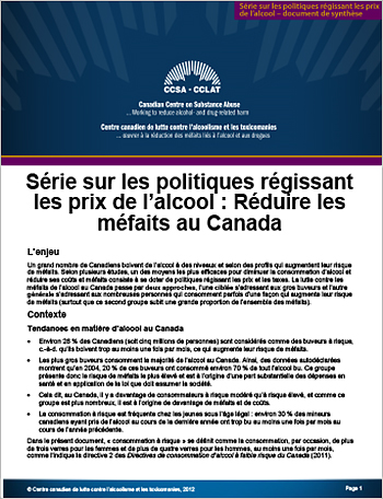 Réduire les méfaits au Canada (Série sur les politiques régissant les prix de l'alcool)