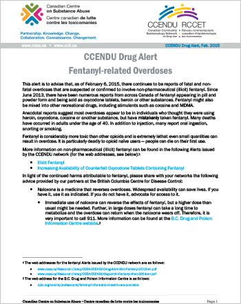 Fentanyl-related Overdoses (CCENDU Drug Alert)