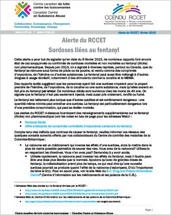 Surdoses liées au fentanyl : Alerte du RCCET