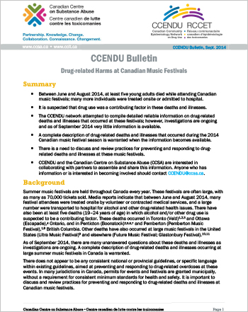 Drug-related Harms at Canadian Music Festivals, June to August 2014 (CCENDU Bulletin)