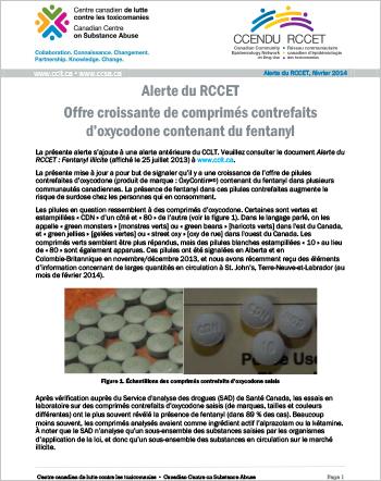 Offre croissante de comprimés contrefaits d'oxycodone contenant du fentanyl (Alerte du RCCET)