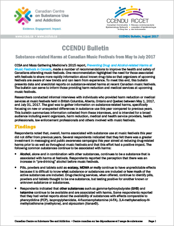 Substance-related Harms at Canadian Music Festivals from May to July 2017  (CCENDU Bulletin)