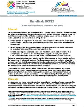 Disponibilité de naloxone à emporter au Canada (Bulletin du RCCET)