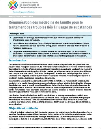 Rémunération des médecins de famille pour le traitement des troubles liés à l'usage de substances (Survol du rapport)