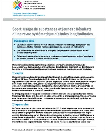 Sport, usage de substances et jeunes : Résultats d'une revue systématique d'études longitudinales