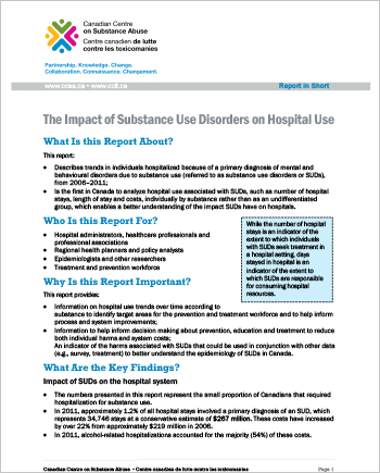 The Impact of Substance Use Disorders on Hospital Use (Report in Short)
