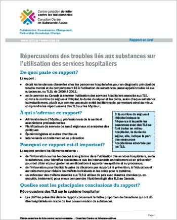 Répercussions des troubles liés aux substances sur l'utilisation des services hospitaliers (Rapport en bref)